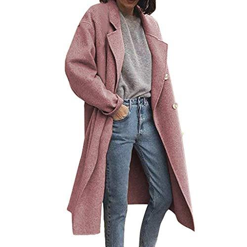 Yowablo Damen Mantel Parka Jacke Einfarbiger Strickmantel mit Langen Ärmeln aus Wolle (L,Rosa)