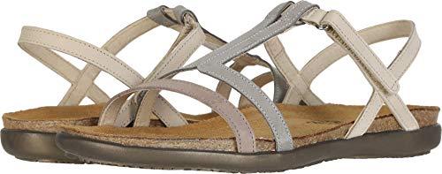 Naot Footwear Women's Judith Stone Nubuck Combo Nubuck Flat Sandal 9 M US