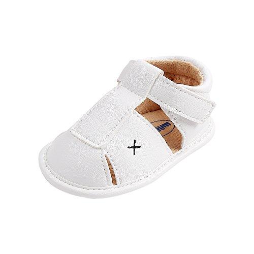 Baby Jungen Weiche Sohle Sandalen Kleinkind Anti-Rutsch Sommer Krippe Schuhe,Weiß,6-12 Monate