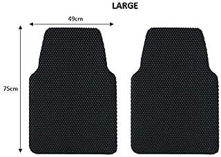 Nicoman Universal Spaghetti Coiled PVC Vinyl Loop Rubber Stud Backing Anti-Slip Car Floor Mat (Black & Grey, Front Set 2pcs)