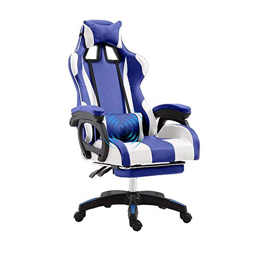 IRVING Gaming Chair für High End PC/PS4/XBOX/Nintendo, ergonomischer Schreibtischstuhl fürs Büro aus Kunstleder (Farbe : Steel feet)