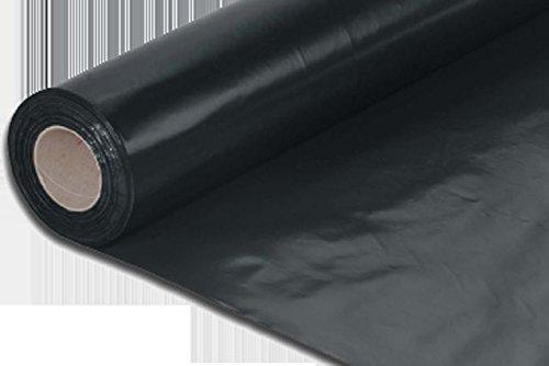 Lámina de polietileno de plástico, color negro, resistente 200 mu 4 m x 25 m