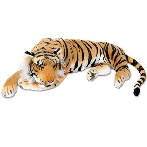 TE-Trend 18789 Plüschtier Tiger Kuscheltier Stofftiger lebensechte Raubkatze liegend Dschungel Steppe 80 cm Mehrfarbig