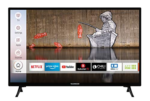 Techwood H32T52E 32 Zoll Fernseher (Smart TV inkl. Prime Video / Netflix / YouTube, HD ready, Works with Alexa, Triple-Tuner) [Modelljahr 2021]
