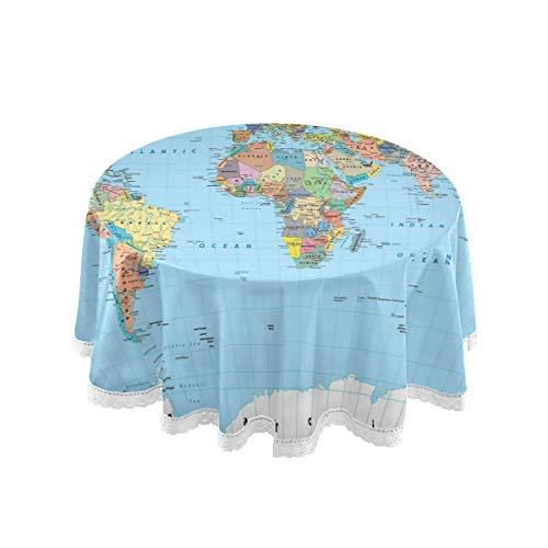 ALARGE Nappe ronde motif carte du monde à grille 152,4 cm lavable avec bords en dentelle Nappe de table Tapis de table de salle à manger Décoration pour maison, fête d