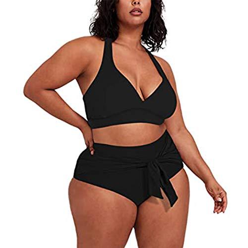 Healter Damen Bikini Badeanzug Plus Size Triangel Bikini Set mit Leopardenmuster High Waist Push Up Bauchweg Bademode Groß Größe Beachwear Badebekleidung Swimwear