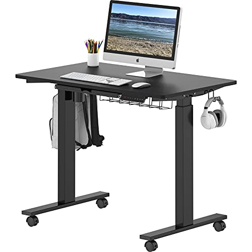 SHW Electric Height Adjustable Mobile Standing Desk, 40 x 24 Inches, Black