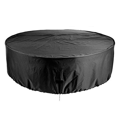 SETSCZY Funda para Mesa de Patio, Redonda, Impermeable, Color Negro, para Exteriores, a Prueba de Polvo, protección Redonda para Muebles de jardín o Interiores,120 * 75cm