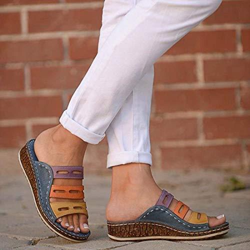 EVR Sandalias de Plataforma cómodas para Mujer Sandalias de tacón de cuña de Cuero de PU Bloque de Color de Verano Talla Grande Zapatillas de Playa para corrección de pie de Dedo Gordo,01,41