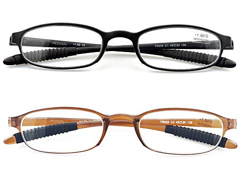 Mcoorn Lightweight Reading Glasses,Flexible(Memory Plastic) Readers for Men and Women, 1 Black & 1 Brown, +1.25 diopters
