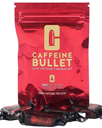 Cafeïne Bullet Mint Energy Chews * 4 - Snellere kick dan pillen, gels en kauwgom. 100 mg cafeïne - sportwetenschap voor hardlopen, fietsen, gamen en een uithoudingsvermogenverhoging vóór de training.