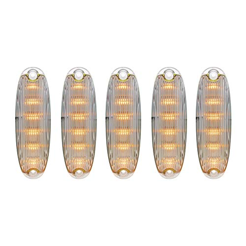 United Pacific 6 LED Cab Lights for 2008-2017 Freightliner Cascadia - Amber LED/Clear Lens