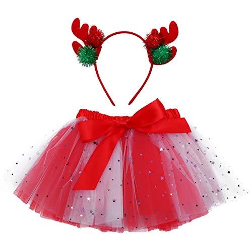 SOIMISS 1 Juego de Faldas de Tutú de Disfraz de Reno Navideño para Niñas con Diadema de Asta de Reno para Niña Fiesta de Navidad Falda de Vestir Talla Roja M