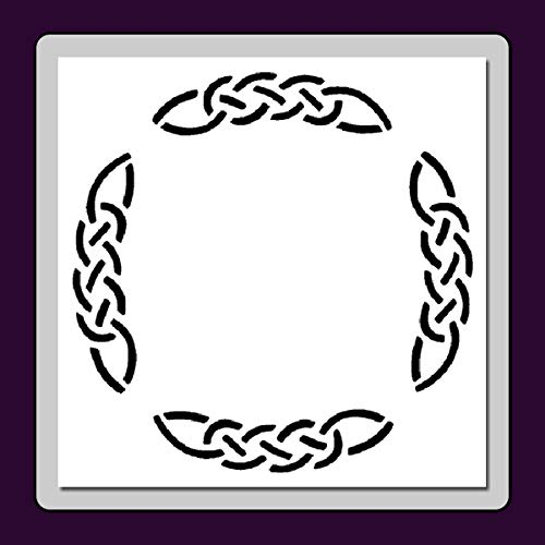 Celtic Knot Round Frame/Border Stencil Template Medieval/Irish/Wiccan (Small (5 X 5 inches) Image Dimensions 4.5 X 4.5)