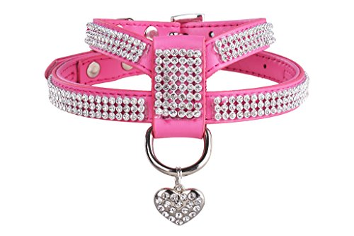 EXPAWLORER Dog Harness Genuine Leather Soft Padded Pet Sparkly Rhinestone Vest with Heart Pendant for Puppy Cat , Pink