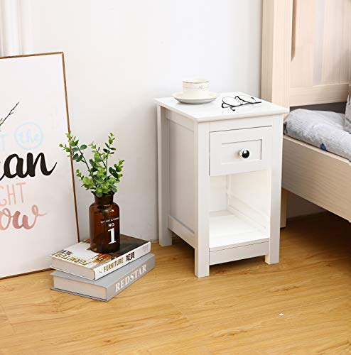 Woodluv MDF Bedside Table with Drawer and Shelf Cabinet Storage Unit - 28 x 31 x 45cm