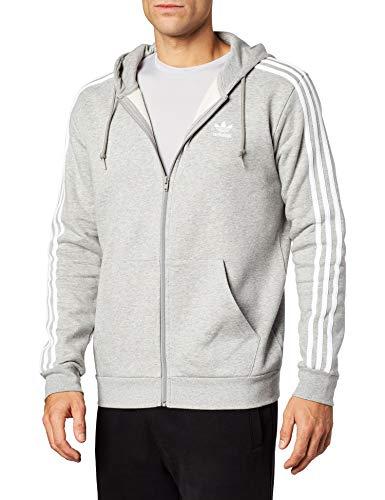 adidas 3-Stripes FZ Sweatshirt, Hombre, Medium Grey Heather, L