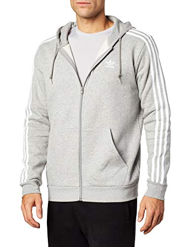 adidas Herren 3-Streifen Full Zip Hoody, Medium Grey Heather, M