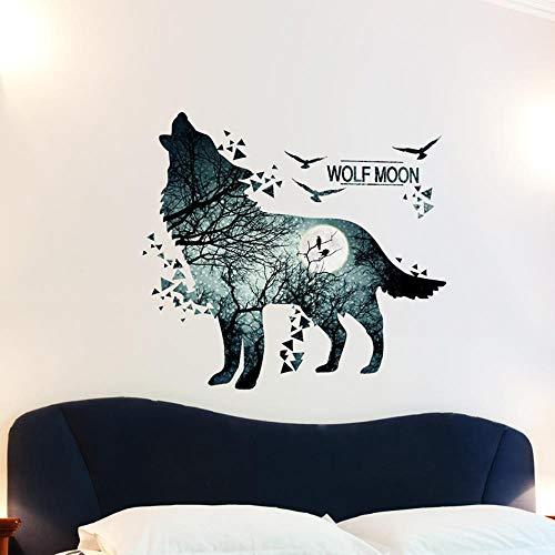 Wandtattoo für Wohnzimmer, Mitternachts Wolf Wandsticker als Wanddekoration für Schlafzimmer Kinderzimmer 74cm×81cm Wand Aufkleber | Deko Wandtattoo für Wand Fenster Schrank Küche Bad Flur