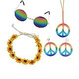Naisde Colorido Colorido Hippie Glasses Crisantemo Diadema Peace Necklace Pendiente Carnaval Disfraz Accesorios para Mujeres Chicas 1set (Accesorios Retro Hippie Disfraz)