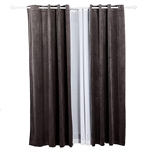 JULIYEH Juego de 2 cortinas grises 132 x 213 cm, cortinas de terciopelo decorativas, cortinas interiores con ojales, cortinas opacas, cortinas con aislamiento térmico para dormitorio o salón