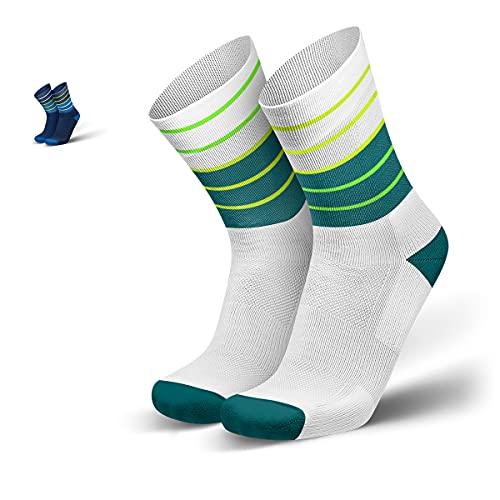 INCYLENCE Lines gepolsterte Laufsocken lang, Running Socks, atmungsaktive Sportsocken mit Anti-Blasen Schutz, Kompressionsstrümpfe, Petrol, 43-46