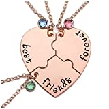 Top Plaza 3 Best Friends Forever and Ever Necklaces Set Rose Gold Heart Puzzle Matching Alloy Pendant Necklaces Friendship BFF Jewelry for Sisters -Set of 3