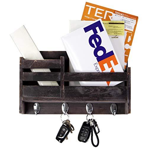 Wooden 2-Slot Mail Sorter Envelope Organizer Wall Mount, Key Holder Hooks, Leash Hanging, Coat Rack, Letter & Newspaper Storage, Rustic Countryside Entryway, Entry Room, Hallway, Mudroom, Home Decor