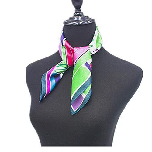 Bufanda mujer bufandas ligeras 2 unids pequeña bufanda cuadrada cuello bufanda de impresión digital satén seda como bufanda para mujeres Regalos elegantes ( Color : Multi-colored , Size : 53X53cm )