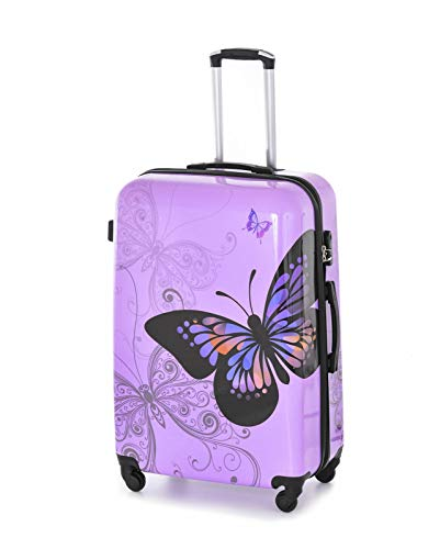 GXK Purple Butterfly Hard Shell Luggage Suitcase 4 Wheel PC Trolley Case Cabin Hand (Size : Large 28+#034;)