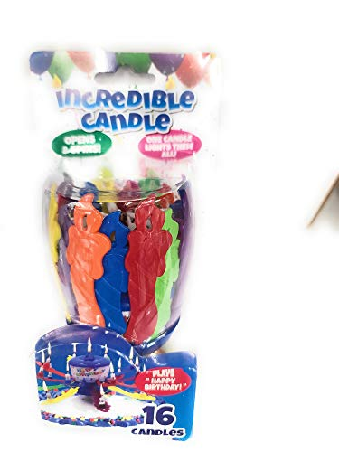 Colorfully Incredible Birthday Candles - 16 Candles One Candle Lights Them All Plays Happy Birthday