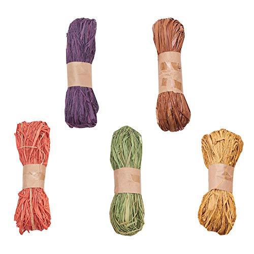 WANDIC Raffiabast, 5 Rollen gefärbtes Bastband, für Floristen, Blumensträuße, Dekoration, Basteln, Weben, Geschenkverpackungen, 5 verschiedene Farben
