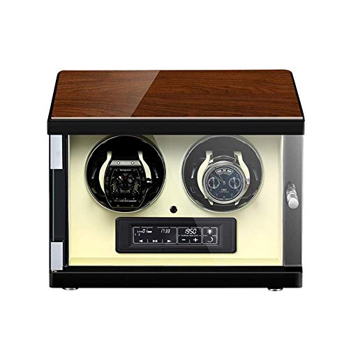 CCAN Enrollador de Reloj para 2 Relojes automáticos, iluminación LED, Carcasa de Madera con Acabado de Piano, Motor silencioso, Almohada Flexible para Reloj Happy Life