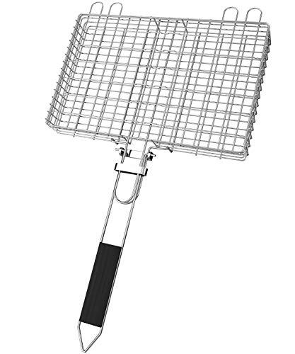 SHINESTAR Grillkorb, Einstellbare Dicke Von 2 Bis 5 cm, Zusammenklappbares Grillnetz Aus Hitzebeständigem Edelstahl Mit Abziehbarem Griff, Für Fisch, Gemüse, Garnelen, Steak, Burger