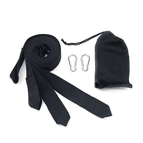 Qinf 2pcs 3M Hammock Suspension Nylon Straps Hanging Straps Hanging Tree Straps with Carabiner Hooks