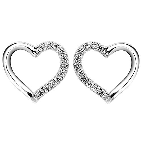 Silver Heart Stud Earrings - 925 Sterling Silver Studs with Sparkling Cubic Zirconia, Birthday Christmas Gifts for Women