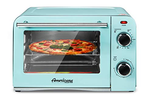 "Elite Gourmet Americana Elite Vintage Diner 50's Retro Countertop Toaster oven Bake, Broil, Toast, Fits 9"" Pizza, Temperature Control & Adjustable 60-Minute Timer 1300W, 4 Slice, Mint Blue"