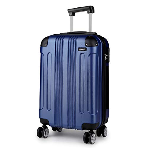 Kono 55x35x20cm Boarding Case Hard Shell ABS Travel Trolley Cabin Hand Luggage Suitcases 33L (Navy)