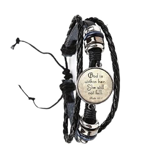 Pulsera de salmo a la moda hecha a mano redonda de cristal de la letra de la pulsera de la Biblia cita regalo de joyería para mujeres cristianas hombres