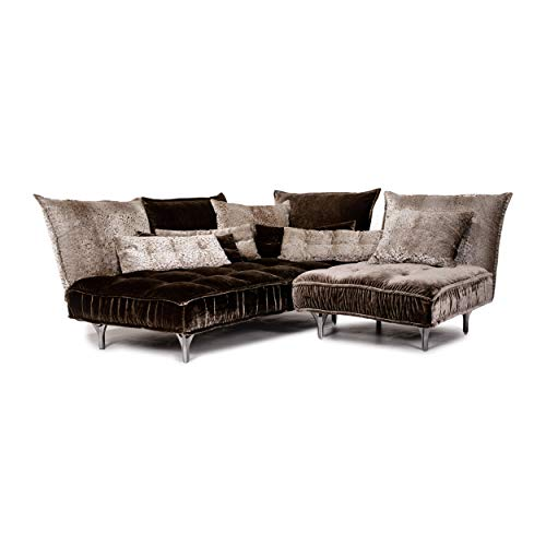 Bretz Ohlinda Samt Stoff Ecksofa Grau Braun Sofa Couch #13731