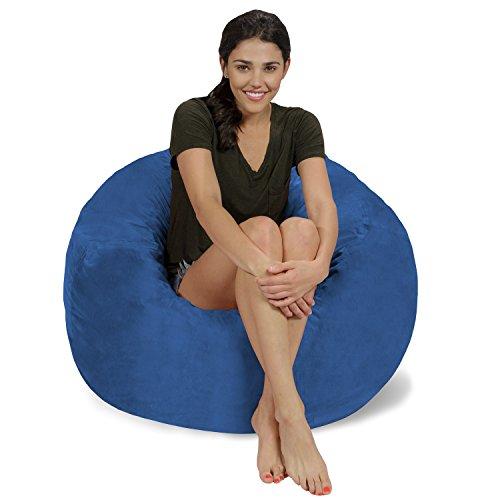 Chill Sack Bean Bag Chair: Large 3' Memory Foam Furniture Bean Bag - Big Sofa with Soft Micro Fiber Cover - Royal Blue Micro Suede