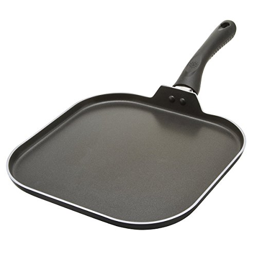Cooktop & Stovetop Griddle Frying Pan–Large Square 11'' Non-Stick Aluminum Flat Cooking & Grilling Skillet- Perfect Heat Distribution–For Vegetables, Pancakes, Fish & More – Dishwasher Safe