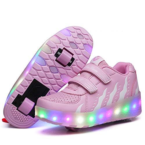 SSCYHT Led Luces Zapatos con Ruedas Dobles para Pequeños Niños y Niña Automática Calzado de Skateboarding Deportes de Exterior Patines en Línea Brillante Aire Libre y Deporte Gimnasia