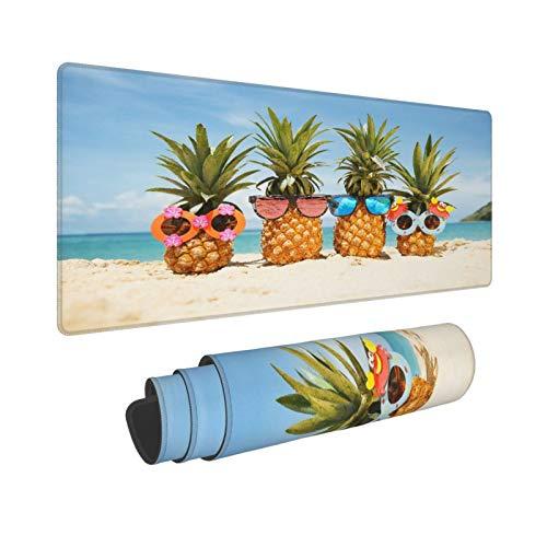 Extra Groß Mauspad mit Genähten Kanten,XL-75 x 40 x 0.3cm,Sonnenbrille Ananas Summer Beach,Schreibtisch Mat Personalisiert für Die Arbeit Spiel Büro Computer Laptop