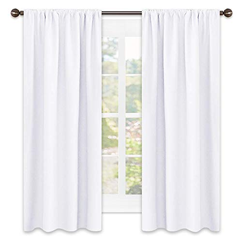 NICETOWN Semi Blackout Bedroom Curtains - Window Treatment Rod Pocket Curtains/Drapes for Bedroom (2 Panels, 42 by 63, White)
