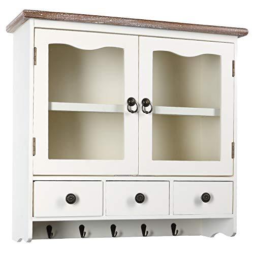 H4L Wandregal Hängeschrank Weiß Vintage-Style 55cm Regal Schrank Holzregal Wandschrank im Shabby-Look Küchenregal