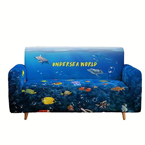Wangxin Ocean Series Printed Sofa Cover, Dustproof, Non-Slip, High Elasticity, All Seasons, 1 2 3 4 Seat Sofa Cover, Simple Furniture Cover F-1 seats
