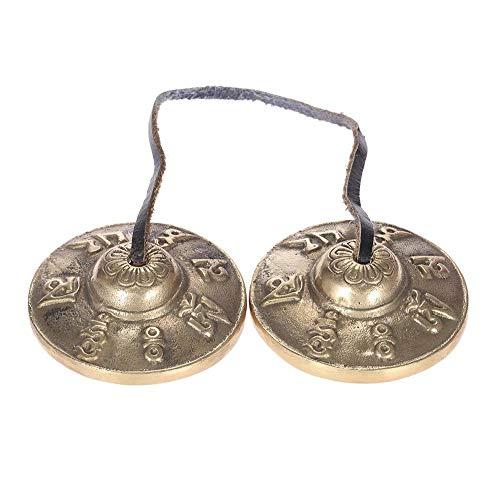 Lankater Tingsha Tibetische Meditation Chime Hand Geprägt Sechs-Charakter Glocken Cymbal Buddhistischen Glückssymbole 2.6in / 6.5cm