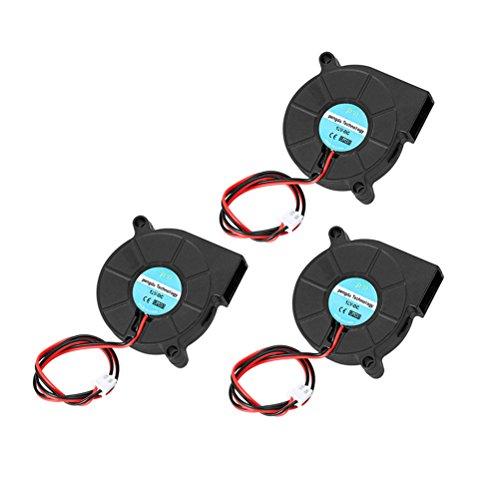 UEETEK 3Piece Ventilatore DC 12V per stampante 3D, Ventola radiatore del ventilatore a turbina, eccellente per il dissipatore di calore raffreddamento a caldo, accessori per stampanti 3D,Nero
