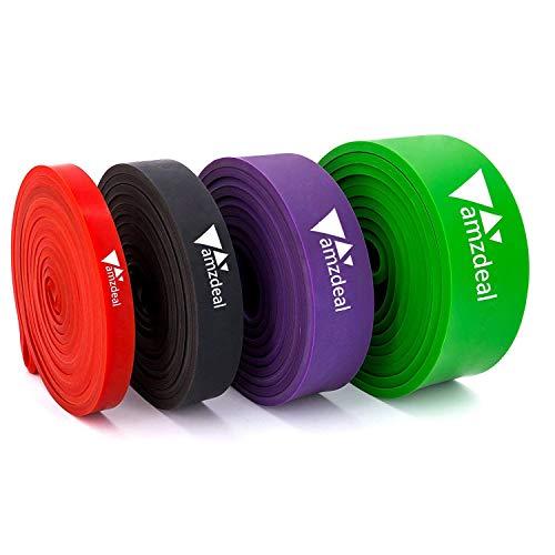Fitnessbänder Widerstandsbänder Resistance Band, 4er Set von Amzdeal,Natürlichem Latex für Yoga,Pilate, Klimmzüge, Krafttraining, Aufwärmübungen, Kniebeugen und anderes Fitnesstraining